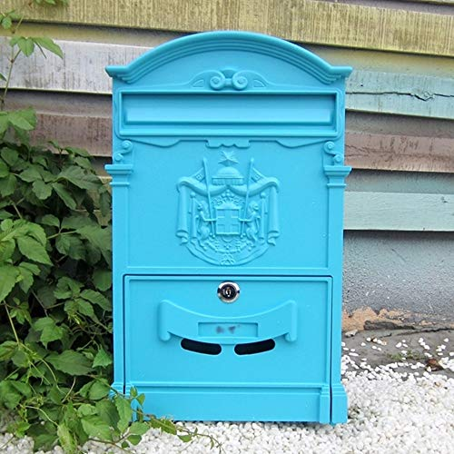 CL& E-mail - Galvanized Sheet, European Retro Creative Lock With Outdoor Waterproof Villa Mailbox, Suitable For Villas, Courtyards, Homes - Multiple colors available Mailbox (Color : Macaron blue)