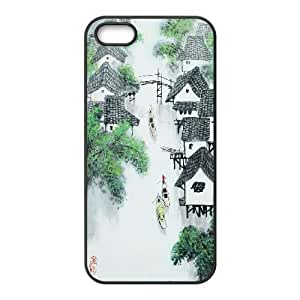 Chinese Painting iPhone 5 5s Cell Phone Case Black DIY GIFT pp001_8955796
