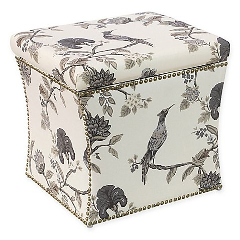 Skyline Furniture Storage Ottoman in Ink Cream, 19