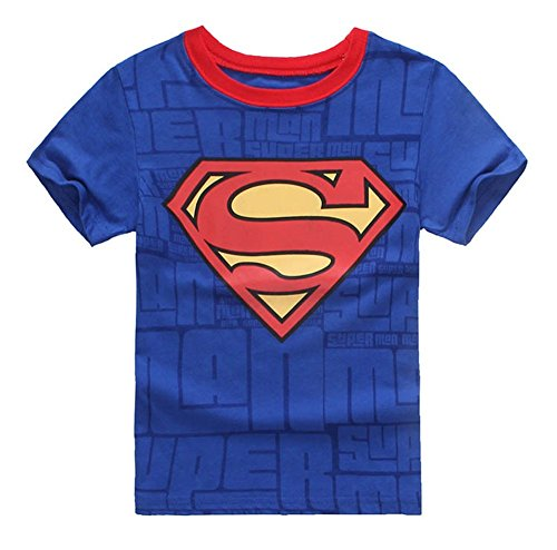 StylesILove Super Hero Soft Cotton Boy Tee Shirt (5, Superman Blue)