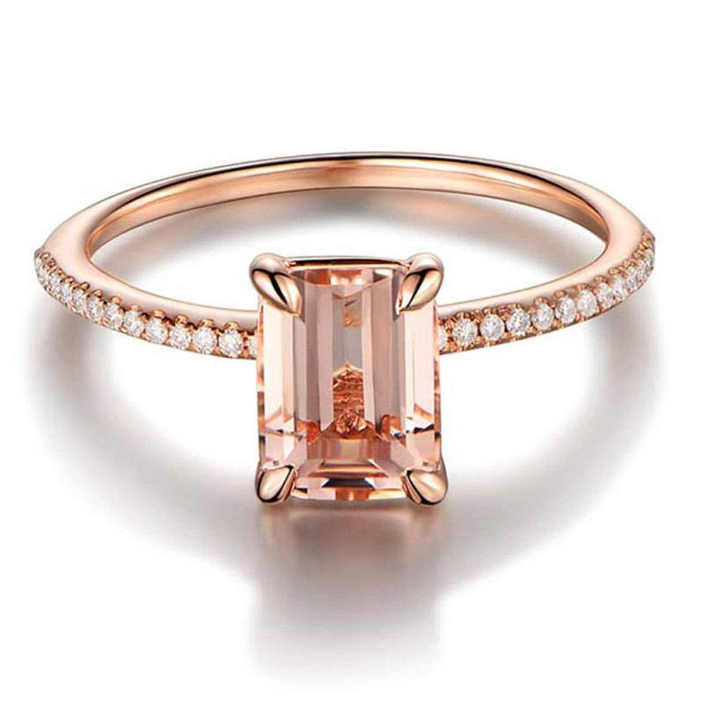 Obteun 2PCS Rings Set Rose Gold Engagement Ring With Crystal Small Square Zircon Ring Rose Gold #6