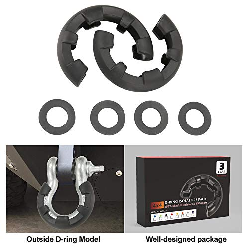 BUNKER INDUST Newest D Ring/Shackle Isolator Kit,1 Pair Black D-Ring Isolator and 4 Pcs Washers Dring Cover Fit for 3/4 Shackle 4x4 Jeep Accessories Protect Bumper Reduce Rattling Shackle Silencers ()