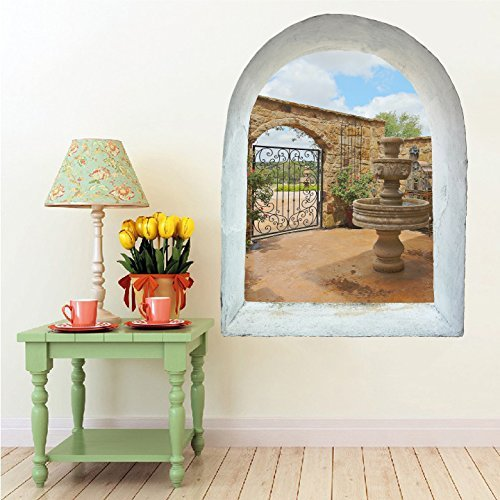 Open Arch Tuscan Courtyard - Windowscape Wall Decal - 36