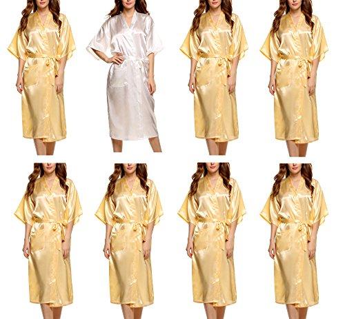 (Avidlove Women's Bridesmaid Modern Peacock Kimono Robe Long Style 8 Packs)