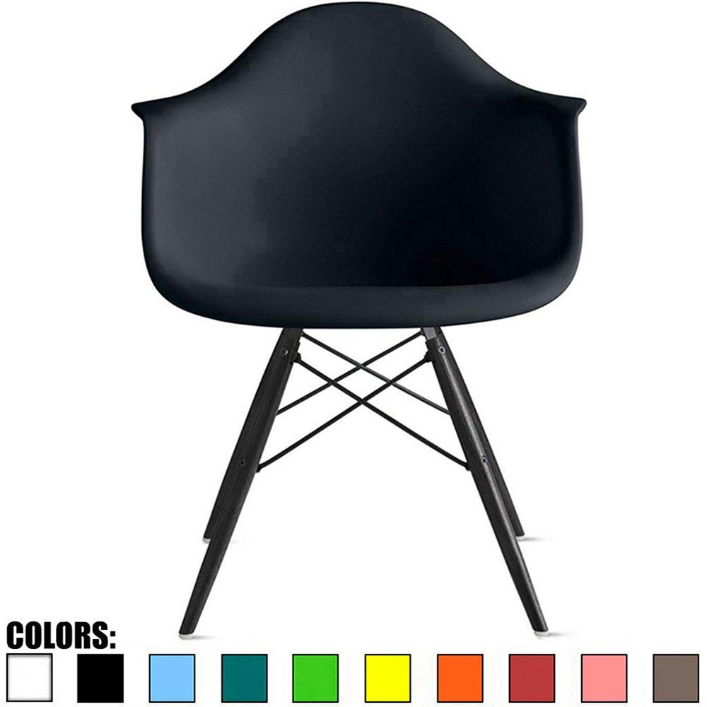 Yellow CH-EamesBlkLeg Plastic Armchair Black Wood Legs Eiffel Dining Room Chair 2xhome Yello Lounge Chair Molded Arm Chair Arms Chairs Seats Wooden Leg Dowel Leg