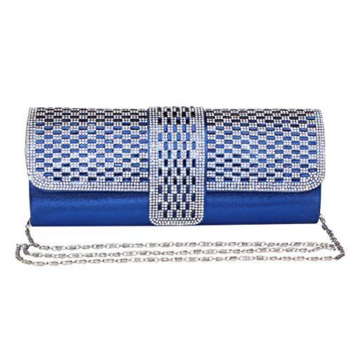 Gesu Women Clutches Rhinestone Clutch Evening Bag Glitter Clutch Purse Wedding Bridal Prom Handbag. (blue) (Blue Clutch Purse)