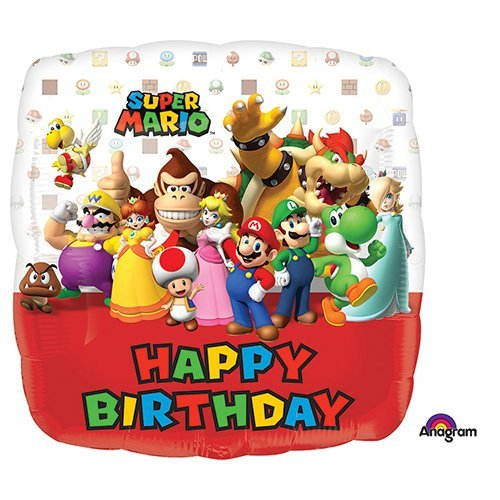 Anagram 32009 Mario Bros Happy Birthday Foil Balloon 18