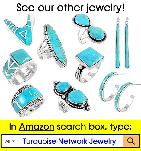 Turquoise Pendant & Earrings Set in 925 Sterling Silver with 20'' Chain (Pendant+Earrings+Chain) by Turquoise Network (Image #7)