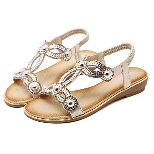 AGOWOO Womens Bling Beaded Flat Strap Walking Beach Sandals Gold lojm0
