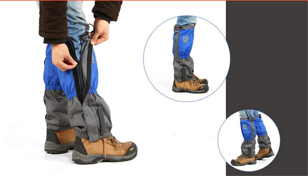 Jiahe Hiking Gaiters Waterproof Zippered Closure double sealed windproof sand//snow//dust proof protection covers for Skiing Snowboarding Hiking Trekking,Blue