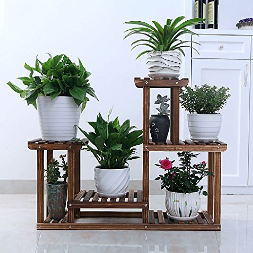 Flower Stand Balcony Wood Simple Modern Living Room Hanging Blue Indoor Plant Flower Rack 852571cm ( Color : Carbon baking color ) (Orchid Plant Stand)