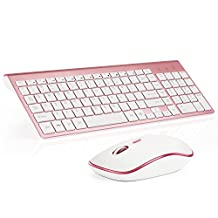 JOYACCESS Wireless Keyboard and Mouse Combo Full-size Whisper-quiet Compact for PC and Mac - Rosy Gold
