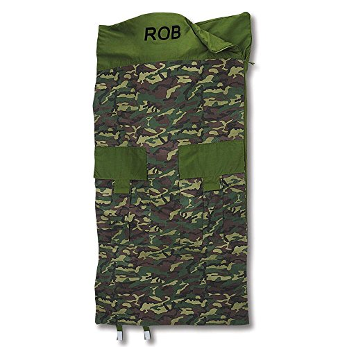 Classic Camouflage Kids Personalized Sleeping Bag by Lillian (Personalized Sleeping Bags For Kids)