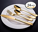 ROSE CREATE 24-piece Premium Stainless Steel Flatware Sets, 12 Spoons, 6 Knives, 6 Forks, Fork and Knife Box Set (Golden - 6 Sets, Pack of 24)
