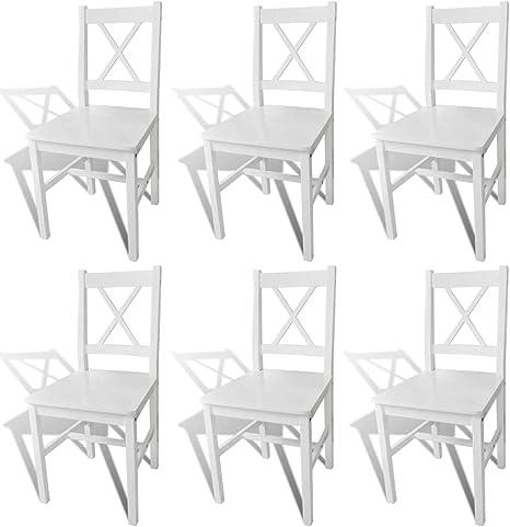 Vidaxl 6x Sedie In Legno Bianche Cucina Soggiorno Salotto Sala Pranzo Seggiole Amazon It Casa E Cucina