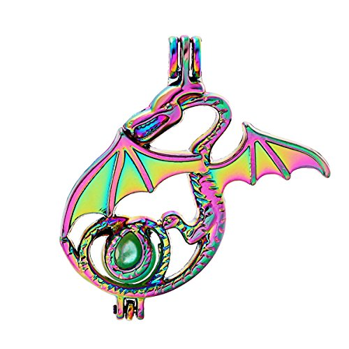 10pcs Colored Dragon Pearl Beads Cage Locket Pendant Aroma Essential Oil Diffuser DIY Necklace Earrings Bracelet Jewelry Making Supplies (Dragon-2)
