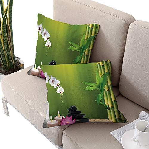 Catalina Spa Pillow - Spa Decor Square travel pillowcase ,Bamboo Flower Stone Wax on the Table Orchid Rock Healthy Lifestyle Image Pattern Green White and Pink W20
