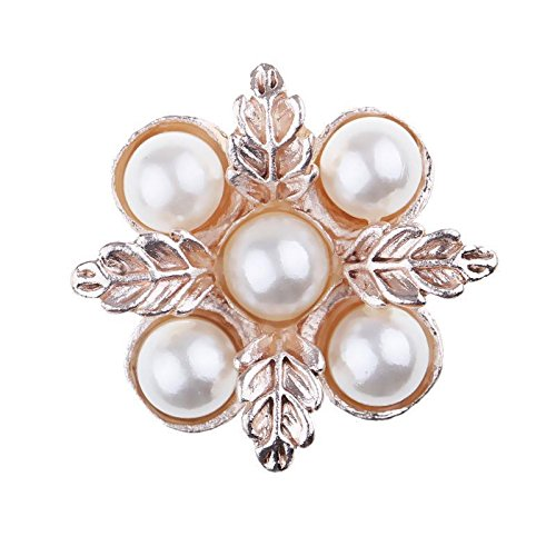 FidgetKute 10x Gold Pearl Crystal Alloy 24mm Five Diamond Grand Faceplate Cute Buckles