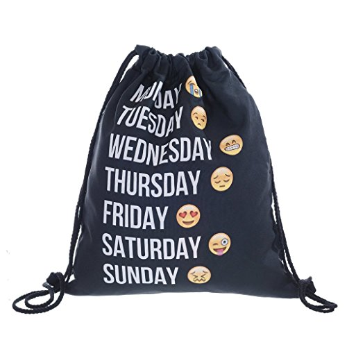 Emoji Bags 3D Rucksack Shoulder Ababalaya Black Backpack Bag Cute Print Gym Drawstring 4TYqZv