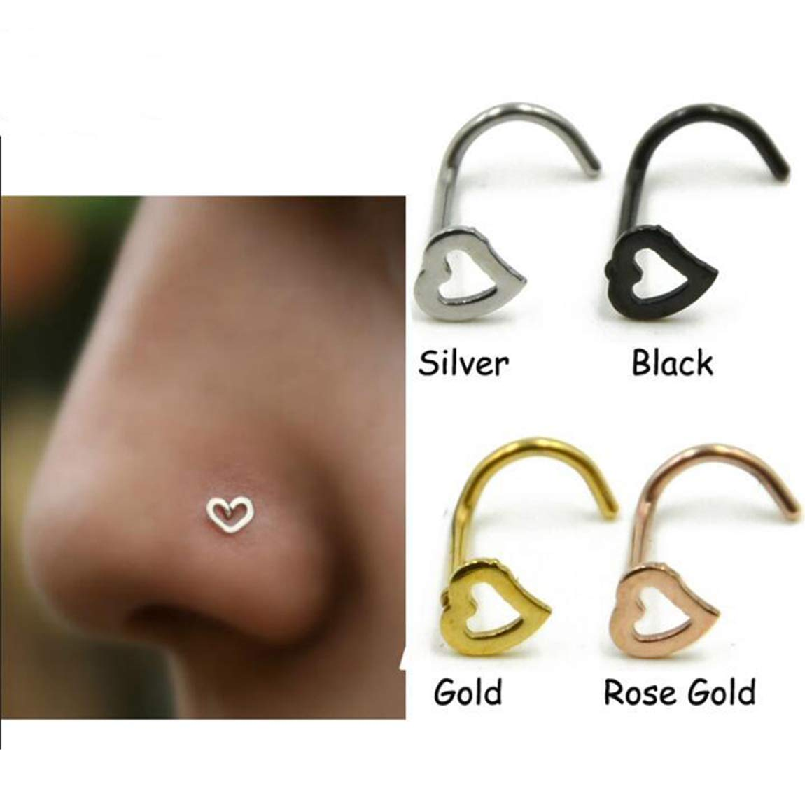 Weiy 4Pcs Heart Nose Studs Rings Screw Bend Piercing Jewelry Fahsion Charming Piercing Ornament Nose Ring Surgical Steel Curved Nose Nails Jewelry Accessories for Women Girls