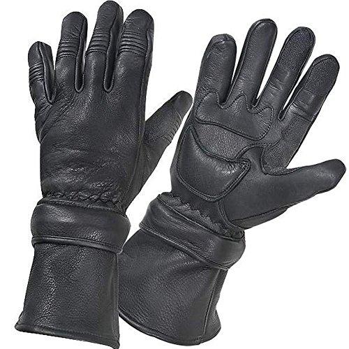 Motorcycle Biker Black Deer Skin Leather Winter Gauntlet Gloves with Zip Off Cuff XL