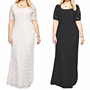 Samtree Womens Full Lace Plus Size Bridesmaid Wedding Cocktail Party Maxi Dress