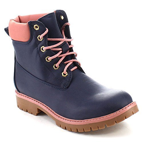BELLAMARIE DENVER-18 Women's Classic Round Toe Lace Up Stitching Short Boots, Color:NAVY, Size:8.5