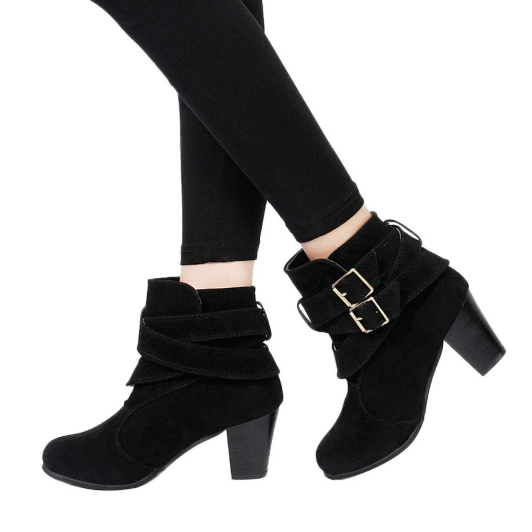 Gyoume High Heel Boots Women Ankle Boots Winter Buckle Boots Shoes Peep Toe Boots Dress Shoes
