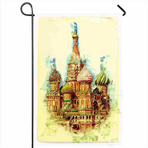 Ahawoso Outdoor Garden Flag 12x18 Inches St Blue Moscow Painting Basils Cathedral On Red Russia City Old Saint Travel Design Culture Seasonal Home Decorative House Yard ()