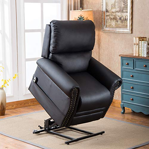 Harper&Bright Designs Power Lift Chair Soft PU Leather Upholstery Recliner Living Room Sofa Chair with Remote (Black)
