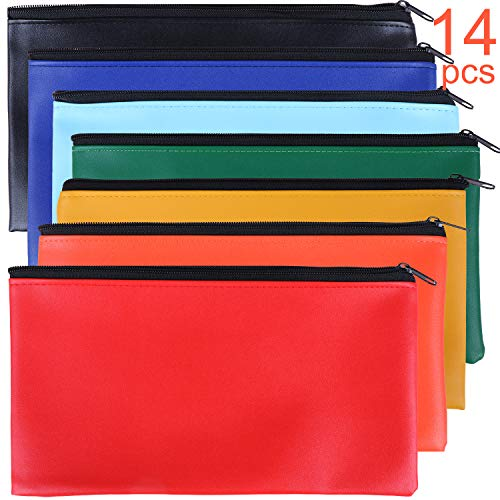 Tongnian 14 Pack Security Bank Deposit Bag 7 Colors Zippered Money Bags,Leatherette Cash Bag,Utility Coin Bag for Business, Household, School or Personal Use,11x6 inch