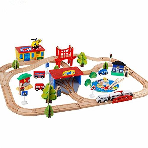Zhenyu 80個トーマスレールElectric Trainおもちゃ子供の木製トラックおもちゃSuit釣り警察Firing Carsおもちゃ
