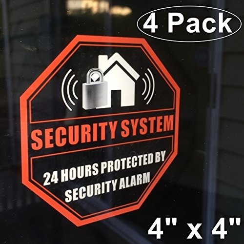Security Warning Stickers - Front Self Adhesive Clear Vinyl Outdoor/Indoor (4 Pack) 4