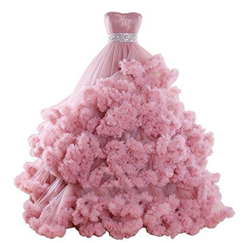 JoyVany Luxury Princess Chapel Train Cloud Designer Fluffy Wedding Dresses Blush Size 2