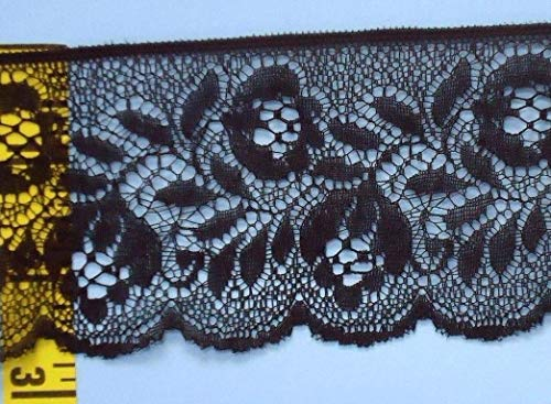 Decorative notions and Trims - Scalloped lace Trim Edging Floral Flat lace Trim 2-3/4 Black 5 yds - Embellish Garments, Pillows and Home d?cor
