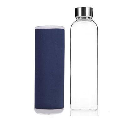 Westeng Deportes Botella de Vidrio Portátil y Nylon de Protectora Bolsa-420ml