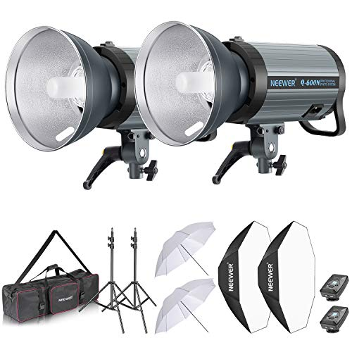 Neewer 1200W Studio Strobe Flash Photography Lighting Kit:(2) 600W Monolight with 2.4G Wireless Trigger,(2) Lampshade,(2) Softbox,(2) Umbrella,(2) Light Stand,(1) Bag for Shooting Bowens Mount(Q600N)