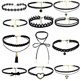 12Pcs Lace Choker Set Women Girl Classic Gothic Tattoo Necklaces Stretch Velvet Lace Choker by ZYooh