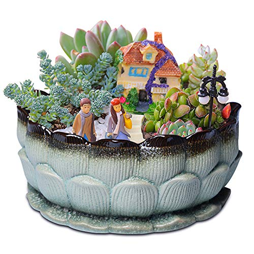 9Inch Large Succulent Planter Big Planter Pot Ceramic Planter Decor Succulent Bowl Flower Pot Indoor Outdoor Plants…