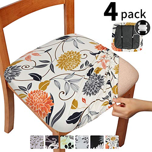 Gute Stretch Printed Chair Seat Covers with Elastic Ties and Button, Removable Washable Dining Upholstered Chair Protector Seat Cushion Slipcovers for Dining Room, Office - Set of 4, Flower