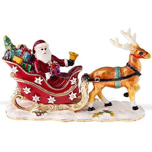 Christmas Sleigh Box - Matashi Santa's Reindeer Jewelry Holder, Sleigh, Multicolored