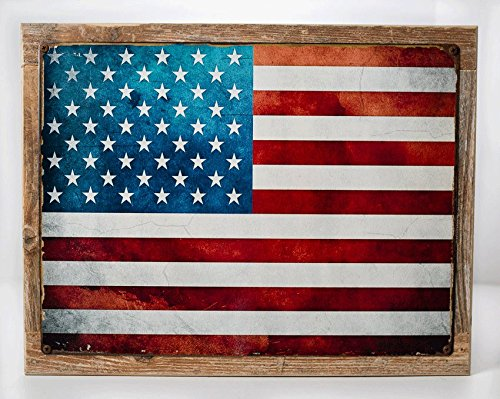 Framed United States Flag Metal Sign, Patriotism, USA, Vintage Sign, Rustic Decor
