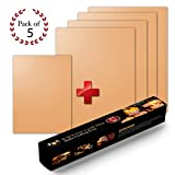 B.WEISS Copper Grill Mat Set of 5 - Non-stick BBQ Grill & Baking Mats - Golden Grill Mats & Bake Mats Reusable & Easy to Clean - grill mat as seen on tv 4 large mat and 1 small for the go.