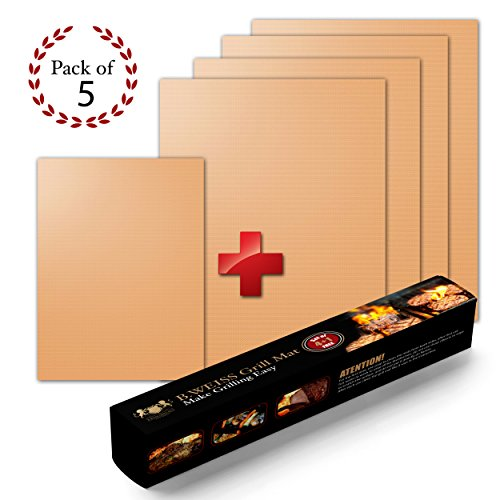 B WEISS Copper Grill Mat Set of 5 - Non-stick BBQ Grill & Baking Mats - Golden Grill Mats & Bake Mats Reusable & Easy to Clean - grill mat as seen on tv 4 large mat and 1 small for the go