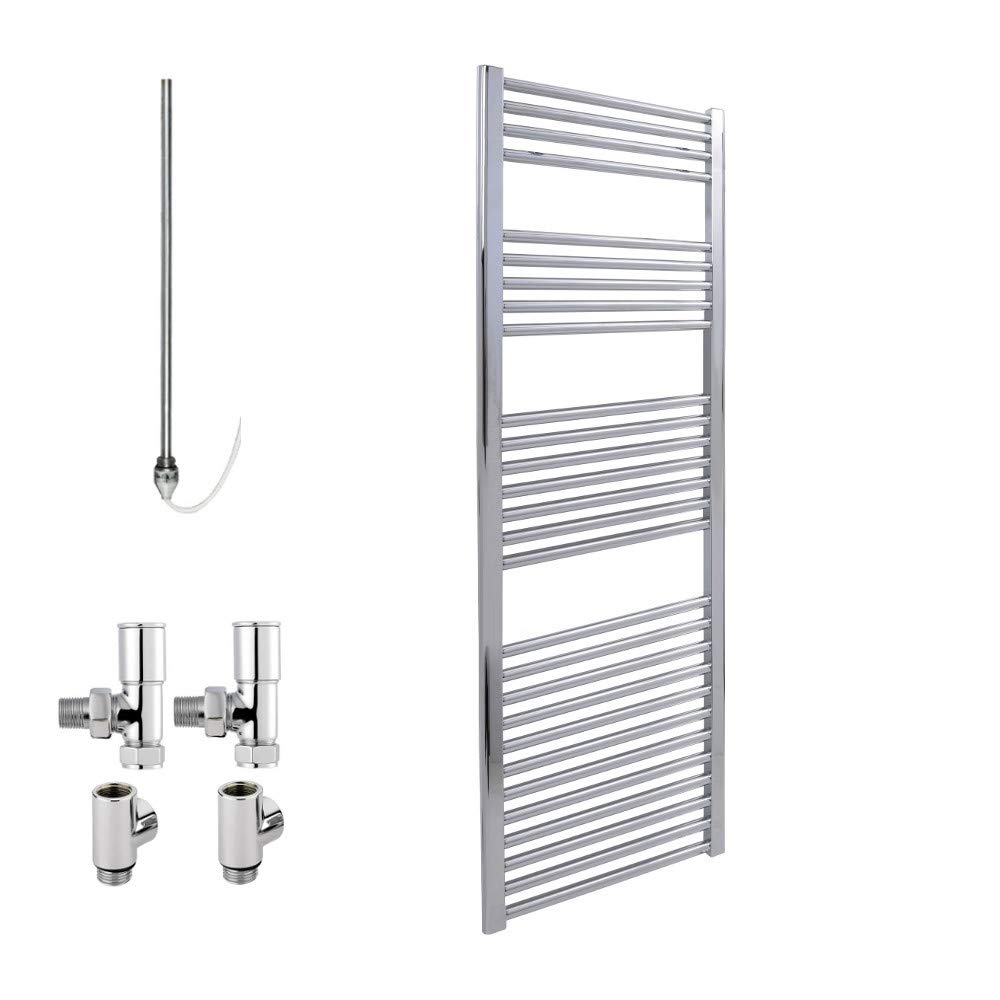 BRAY Standard Straight or Flat Heated Towel Rail/Warmer/Radiator, Chrome - Dual Fuel. Buy Online From Solaire - Top Quality, Great Prices, Fast Delivery, 800 x 300 Sol*Aire Heating Products