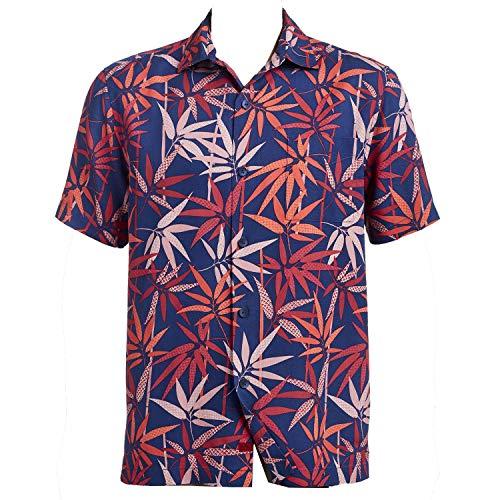 - Tommy Bahama Bamboo Grove Silk Camp Shirt (Color: Throne Blue, Size XXL)