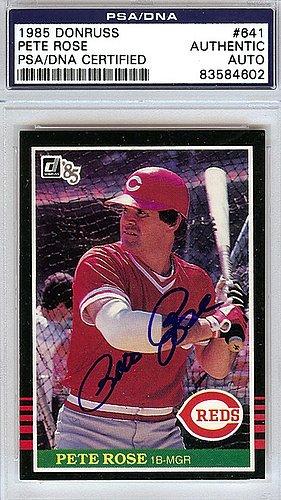 Autographed Card 1985 Donruss (Pete Rose Signed 1985 Donruss Card #641 - PSA/DNA Authentication - Autographed MLB Baseball Cards)