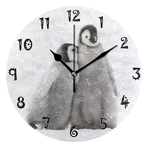 Romantic Angel Snow Penguins Wall Clock,Silent Non Ticking - 10 Inch Quality Quartz Battery Operated Round Easy to Read Home/Office/School Clock