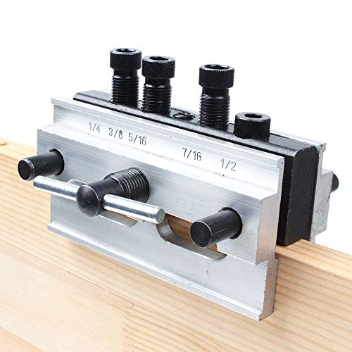 (AUTOTOOLHOME Self Centering Dowelling Jig Step Drill Guide Bushings Set Wood Hole Jig Woodworking Joints Tools 1/4 5/16 3/8 7/16 1/2 Pins)