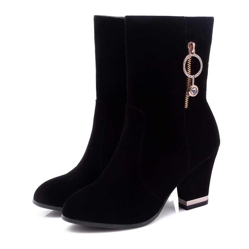 Black T-JULY Heels Zip Up shoes Woman Mid Calf Boots Autumn Winter Boots Woman shoes Plus Size 33-46